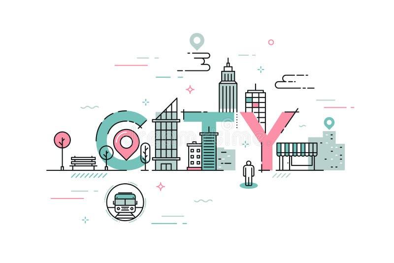 稀薄的线词城市的设计观念 库存例证