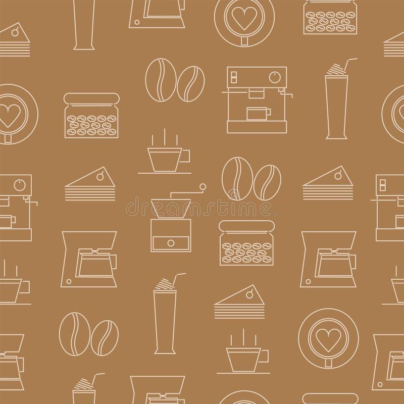 稀薄的线象咖啡的无缝的样式 免版税图库摄影