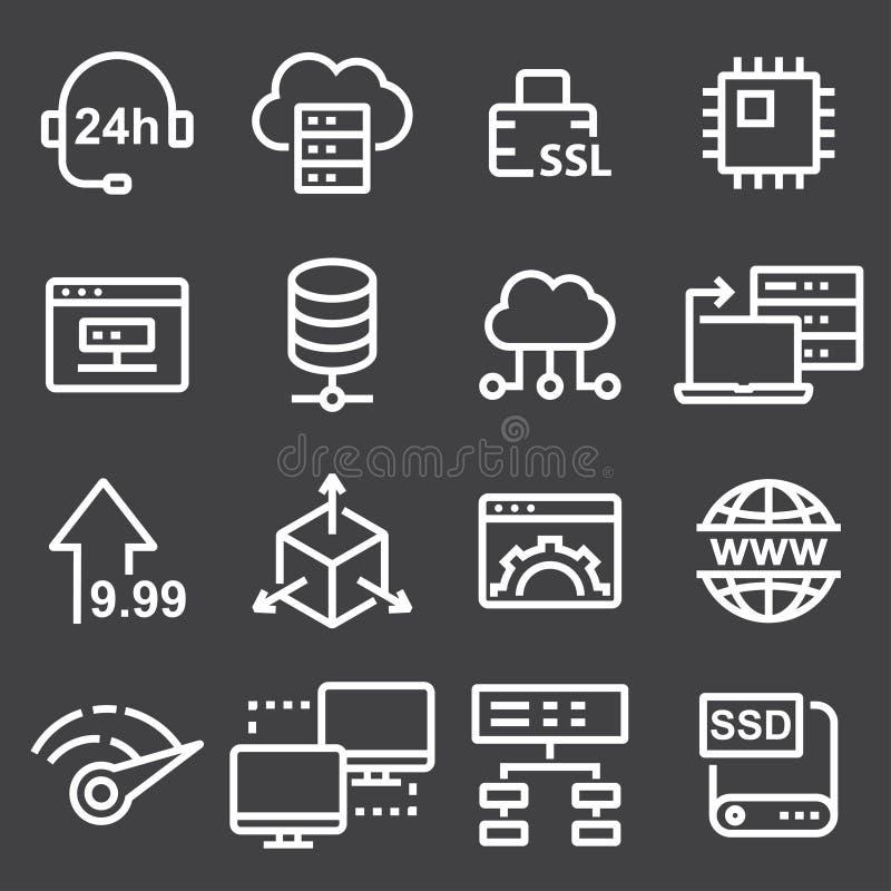 稀薄的线象设置了主持和云彩计算网络概念 库存例证