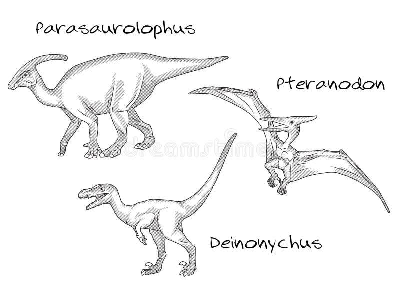 稀薄的线雕样式例证,各种各样的种类史前恐龙,它包括parasaurolophus, pteranodon 向量例证