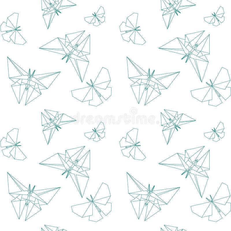 稀薄的线蝴蝶纸Origami样式 传染媒介无缝的样式纸Origami 库存例证