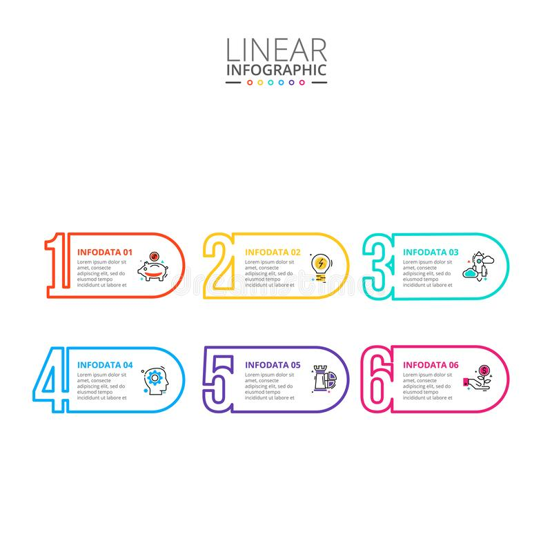 稀薄的线infographic平的数字 r 与6个选择的企业概念 库存图片