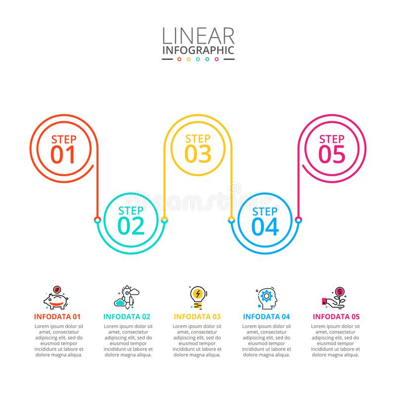 稀薄的线infographic的平的元素 r 与5的企业概念 免版税库存图片