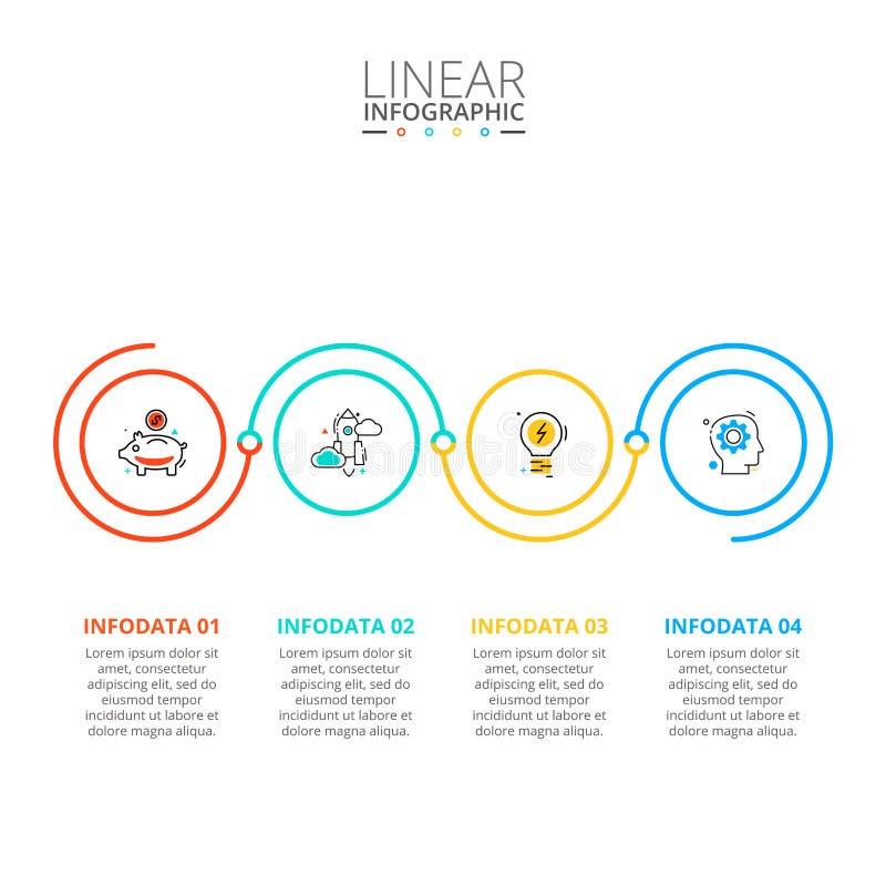 稀薄的线infographic的平的元素 r 企业概念与 免版税库存照片