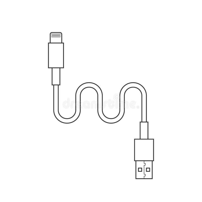 稀薄的线usb闪电充电的缆绳 库存例证