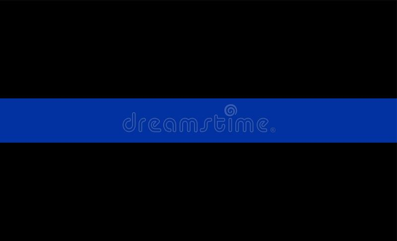 稀薄的蓝线旗子执法标志 美国警察下垂 记住当班下落的警察的标志 向量例证