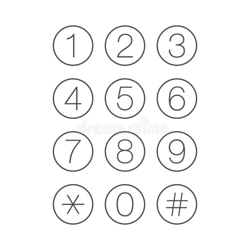 稀薄的键盘编号屏幕电话设备 库存例证