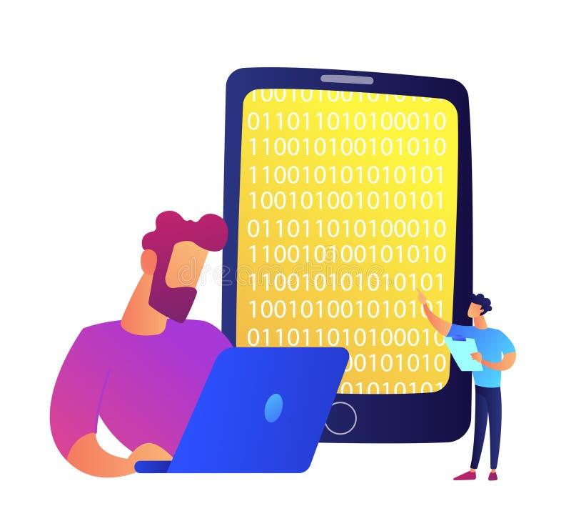 程序员与膝上型计算机和手机一起使用有二进制编码传染媒介例证的 库存例证