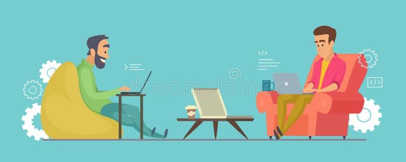 程序员传染媒介字符 研究在coworking的例证的膝上型计算机的软件开发商 皇族释放例证
