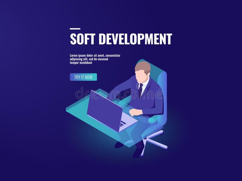 程序员发展软件,编程等量,企业逻辑分析方法和数据处理, hr经理 皇族释放例证