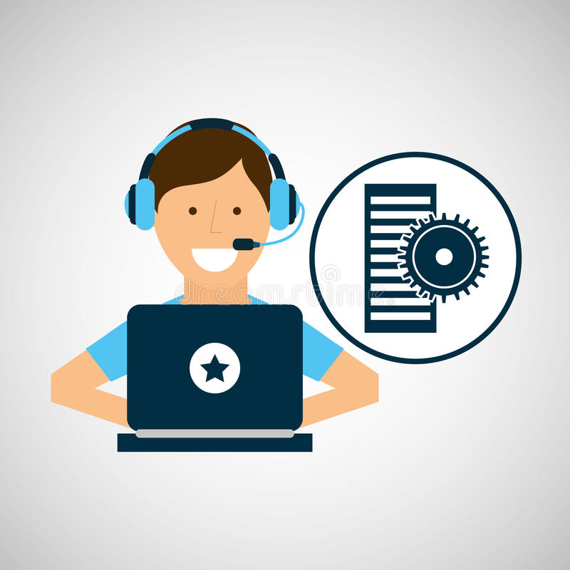 程序员字符发展数据齿轮 库存例证