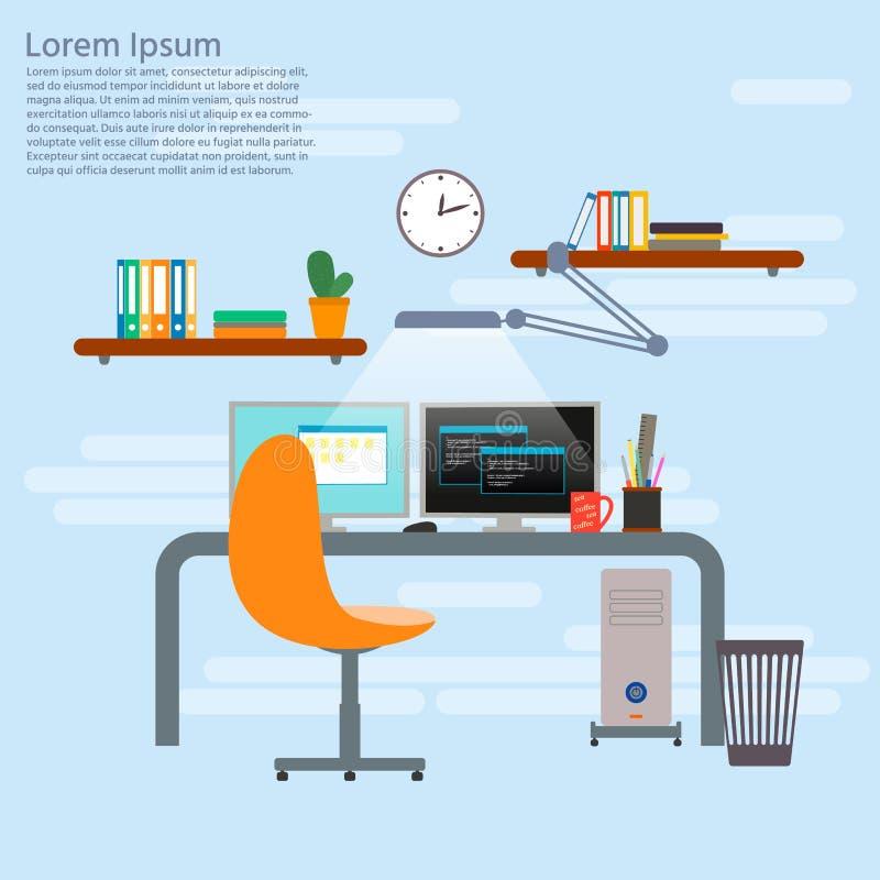 程序员工作地点的概念 程序员或开发商 向量例证