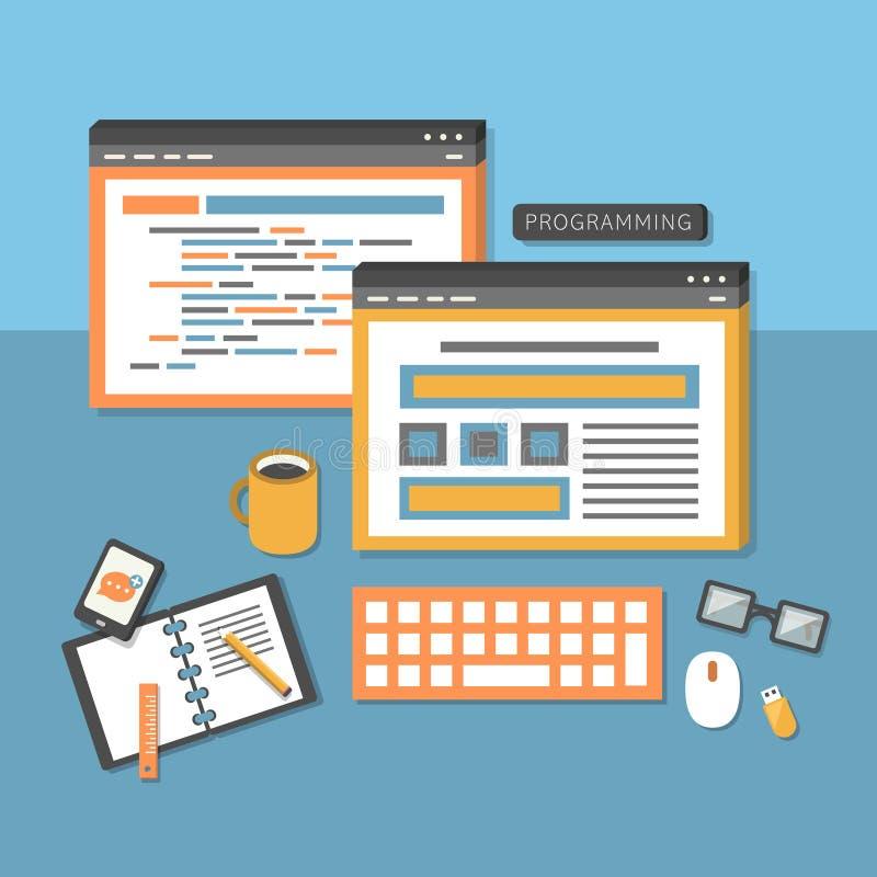 程序员工作流的平的设计观念 库存例证