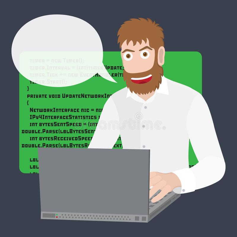 程序员或开发商有膝上型计算机的 编程的软件或网在计算机 传染媒介平的动画片例证 向量例证