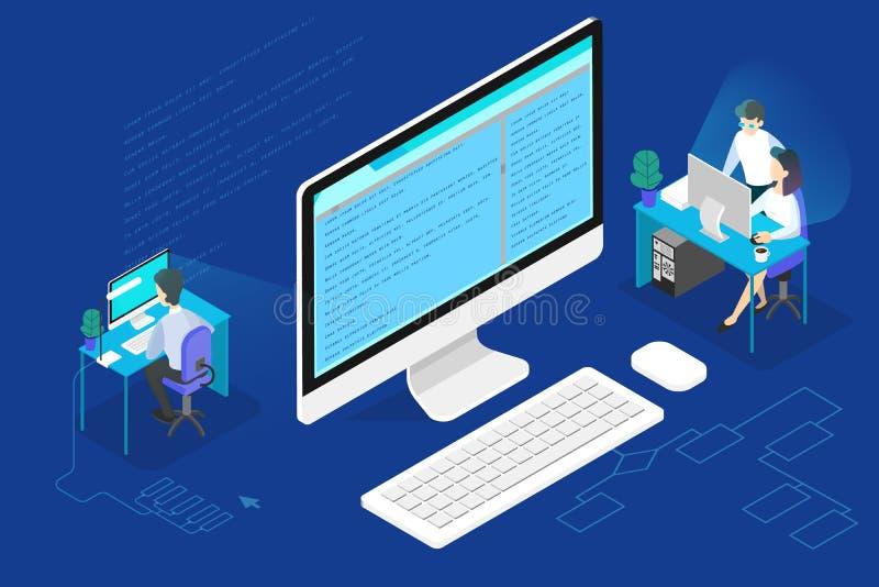 程序员或网络开发商概念 研究计算机 向量例证