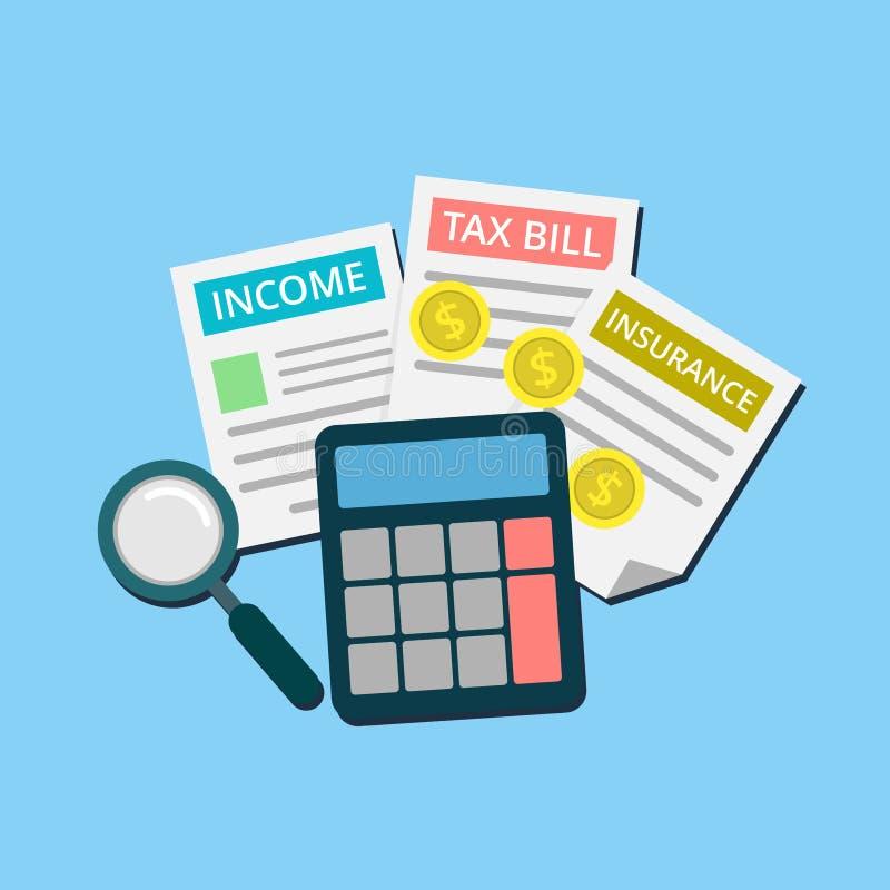 税、收入和保险审计在审计过程中与计算器和放大镜 皇族释放例证