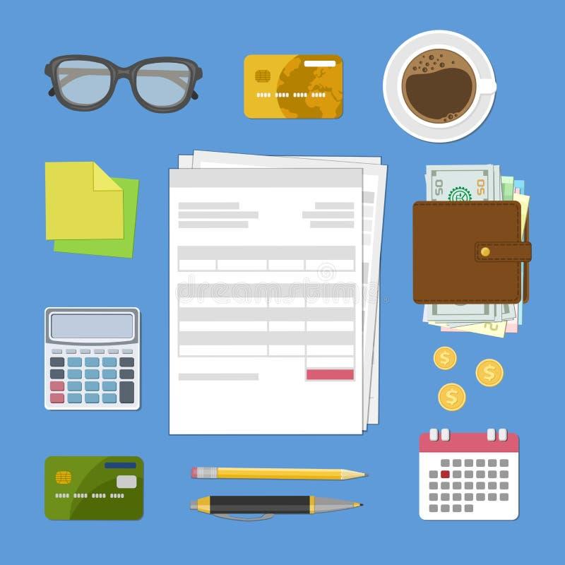 付税和发货票的概念 票据和检查 向量例证