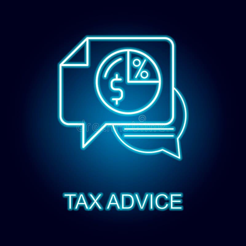 税在霓虹样式的忠告线象 人力资源象的元素流动概念和网应用程序的 库存例证