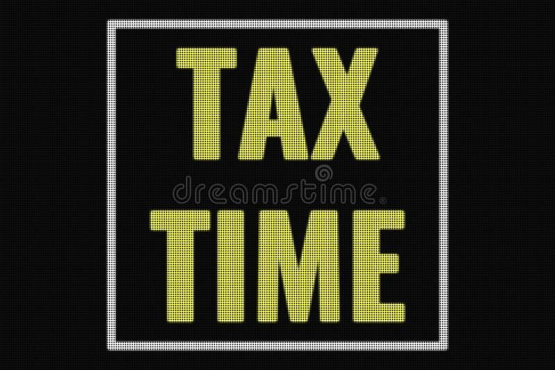 税在黑暗的屏幕上的时间文本 皇族释放例证