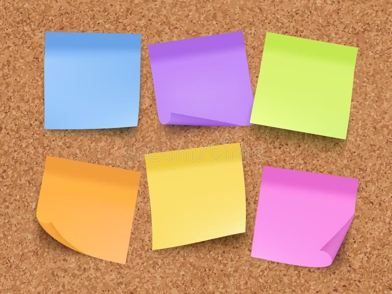 稠粘的空的笔记 在墙壁上的栓木板有与别针的备忘录彩纸的和夹子导航现实模板 皇族释放例证