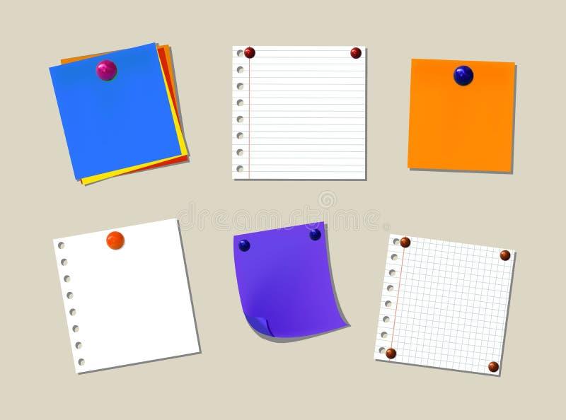 稠粘的笔记传染媒介收藏,办公室备忘录纸,被隔绝的设计元素集 皇族释放例证