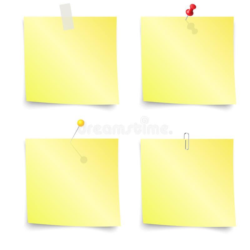 稠粘的笔记-套黄色稠粘的笔记 库存例证