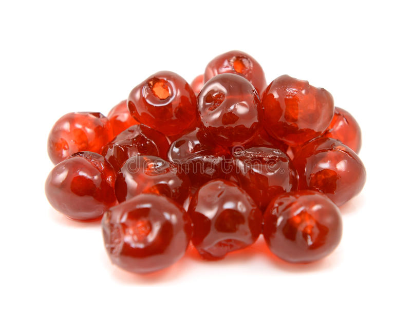 稠粘的糖渍的樱桃 免版税库存图片