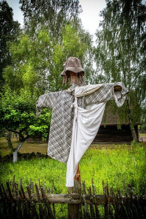 稻草人在庭院里 免版税库存图片