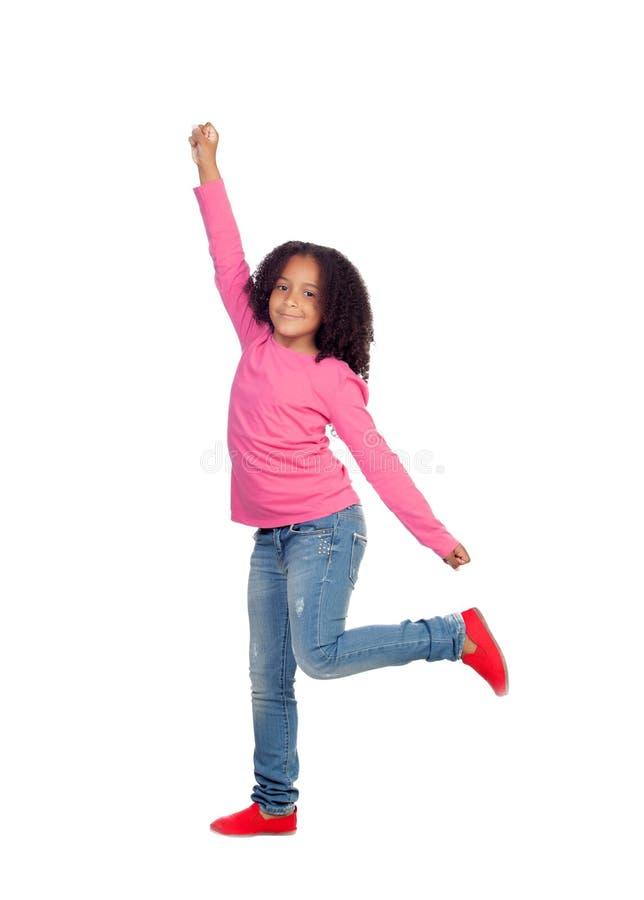 滑稽女孩跳跃 库存照片