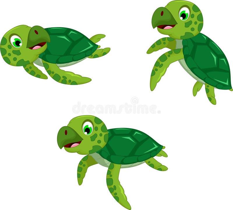 滑稽的三只乌龟动画片 库存例证