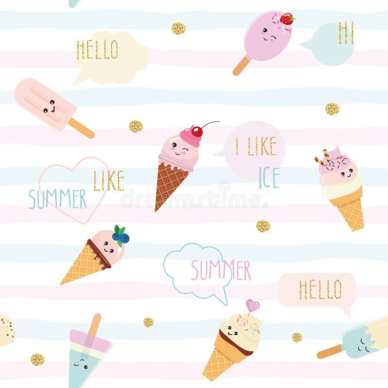 滑稽的与动画片冰淇凌和讲话的夏天无缝的样式背景起泡 对印刷品和网 皇族释放例证