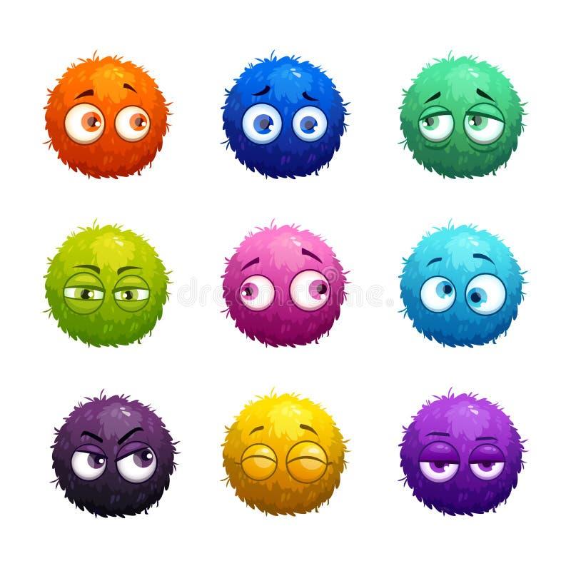 滑稽的与眼睛的动画片五颜六色的粗野的球 库存例证