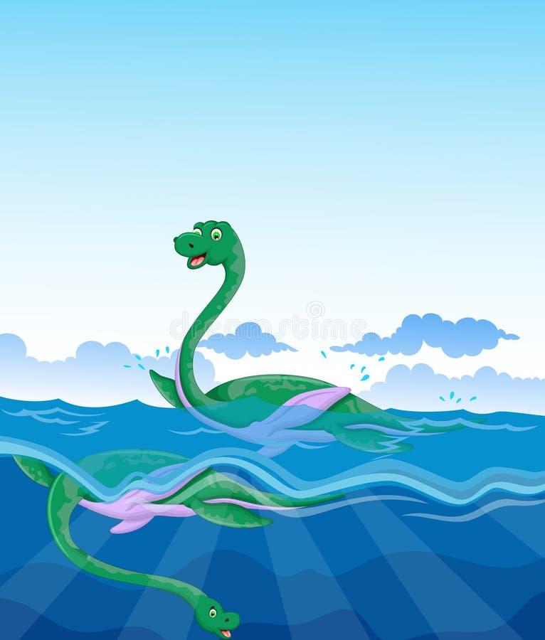 滑稽的两恐龙动画片游泳在海图片