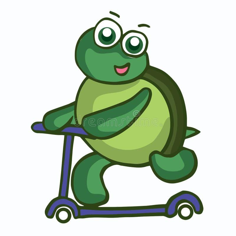 滑稽的乌龟的传染媒介例证与滑行车的 向量例证