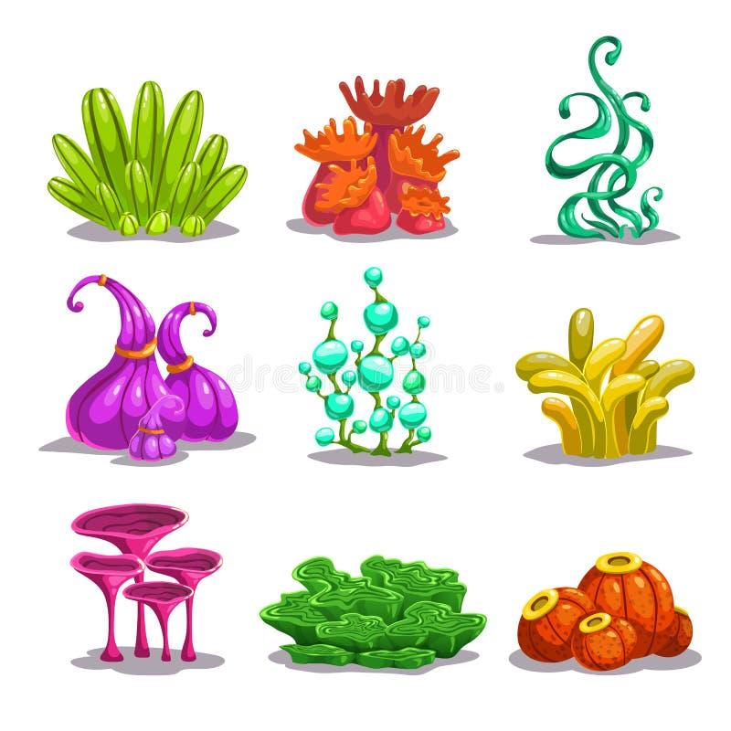滑稽的五颜六色的传染媒介幻想植物 库存例证