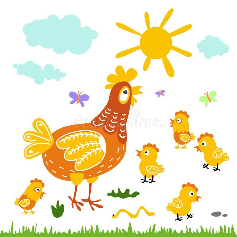 滑稽的传染媒介动画片五颜六色的母鸡和小鸡背景 库存例证