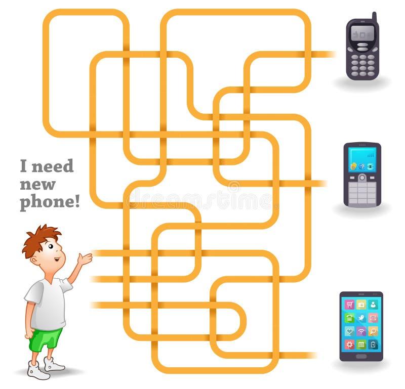 滑稽的传染媒介迷宫比赛:男孩和新的手机 向量例证