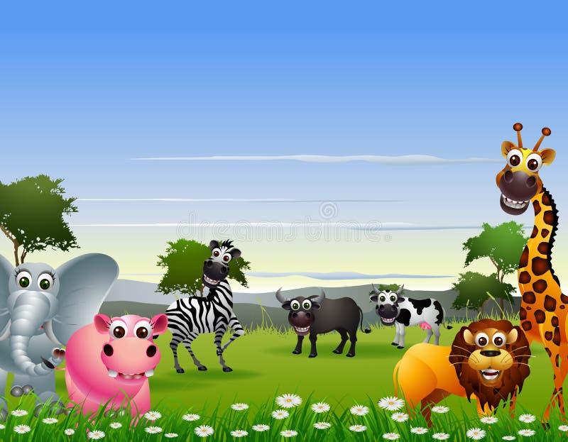 滑稽的动物动画片有自然背景 皇族释放例证