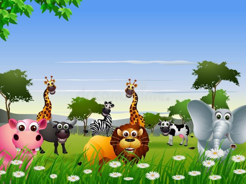 滑稽的动物动画片有自然背景 向量例证