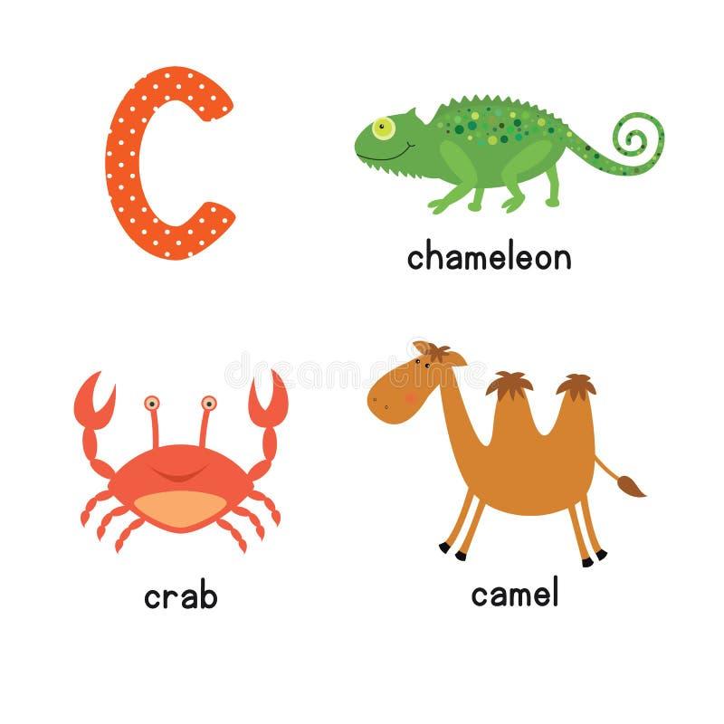 滑稽的动物动画片逗人喜爱的儿童动物园字母表C信件辨别目标学会英国词汇量的孩子的 库存例证