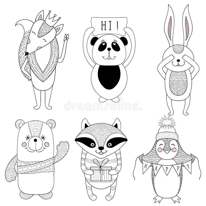 滑稽的动物动画片,儿童例证 逗人喜爱的狐狸,熊, p 库存例证