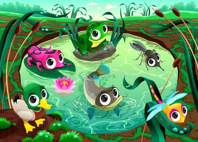 滑稽的动物在池塘 向量例证