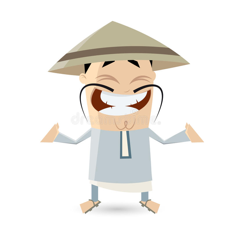 滑稽的动画片中国人人 皇族释放例证