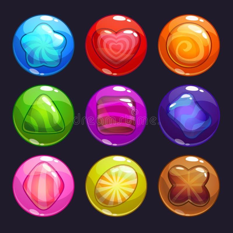 滑稽的动画片五颜六色的泡影用里面糖果 皇族释放例证