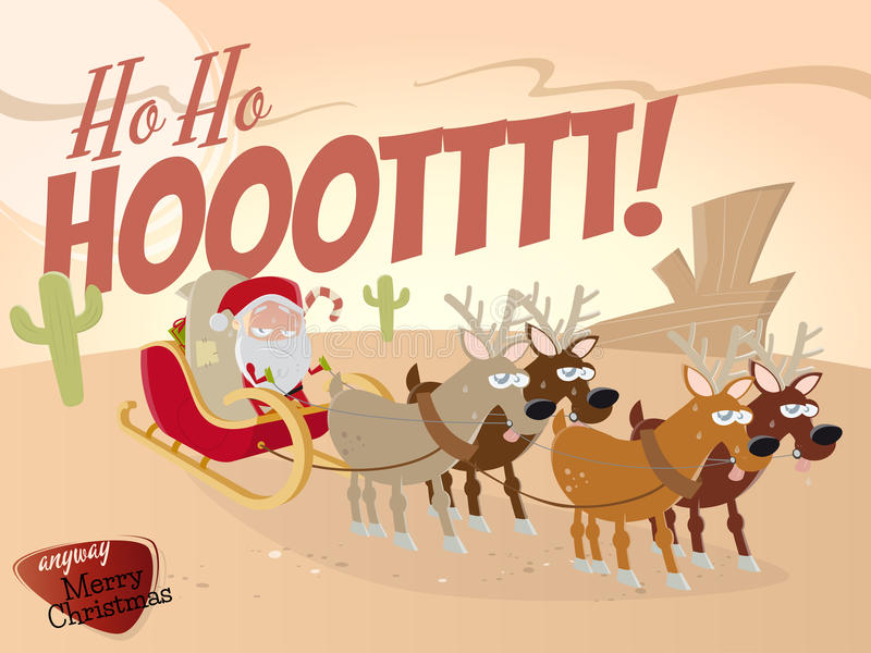 滑稽的动画片圣诞老人在沙漠 皇族释放例证