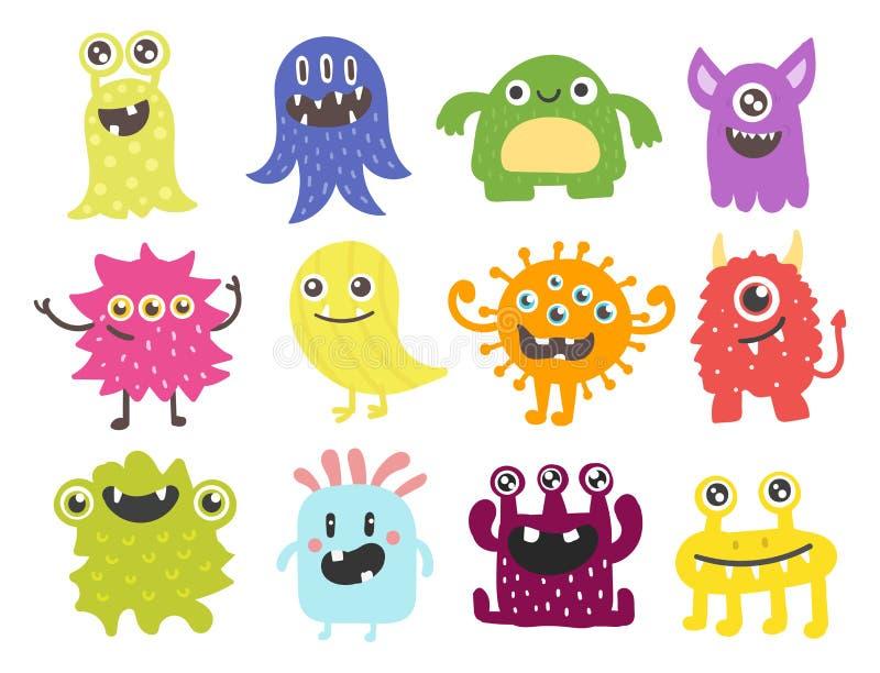 滑稽的动画片妖怪逗人喜爱的外籍人字符生物愉快的例证恶魔五颜六色的动物传染媒介 皇族释放例证