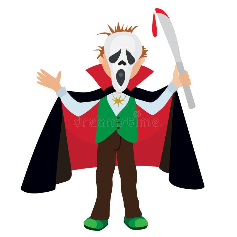 滑稽的动画片小德雷库拉,穿万圣夜服装,传染媒介例证的男孩 库存例证