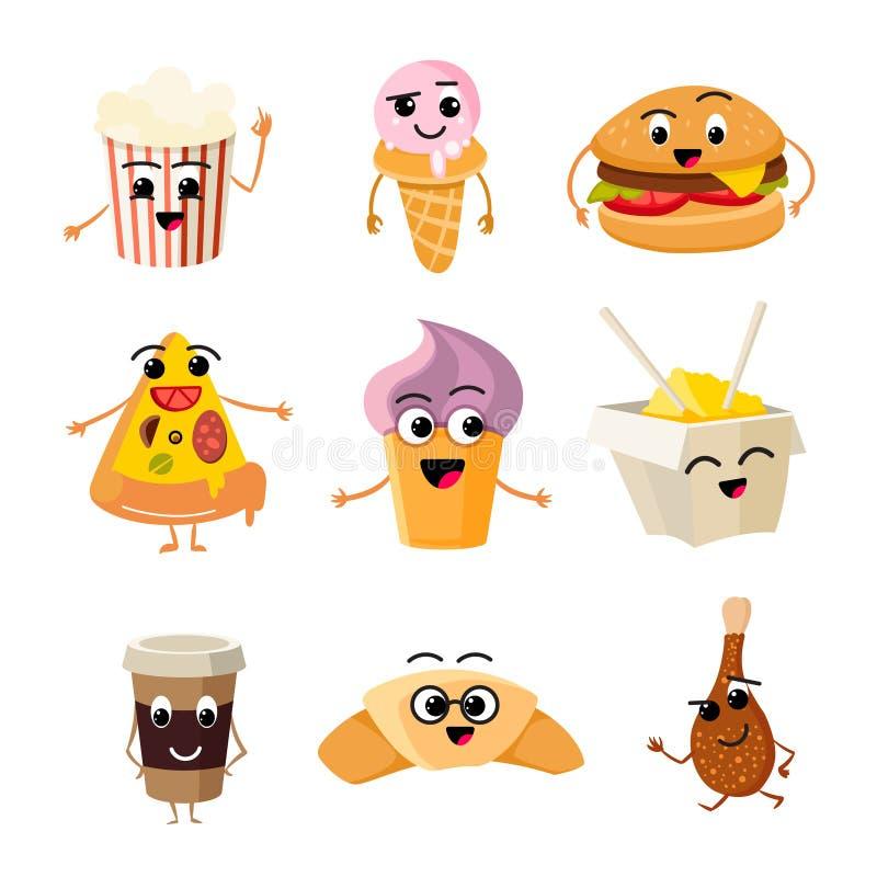 滑稽的动画片快餐传染媒介集合 库存例证