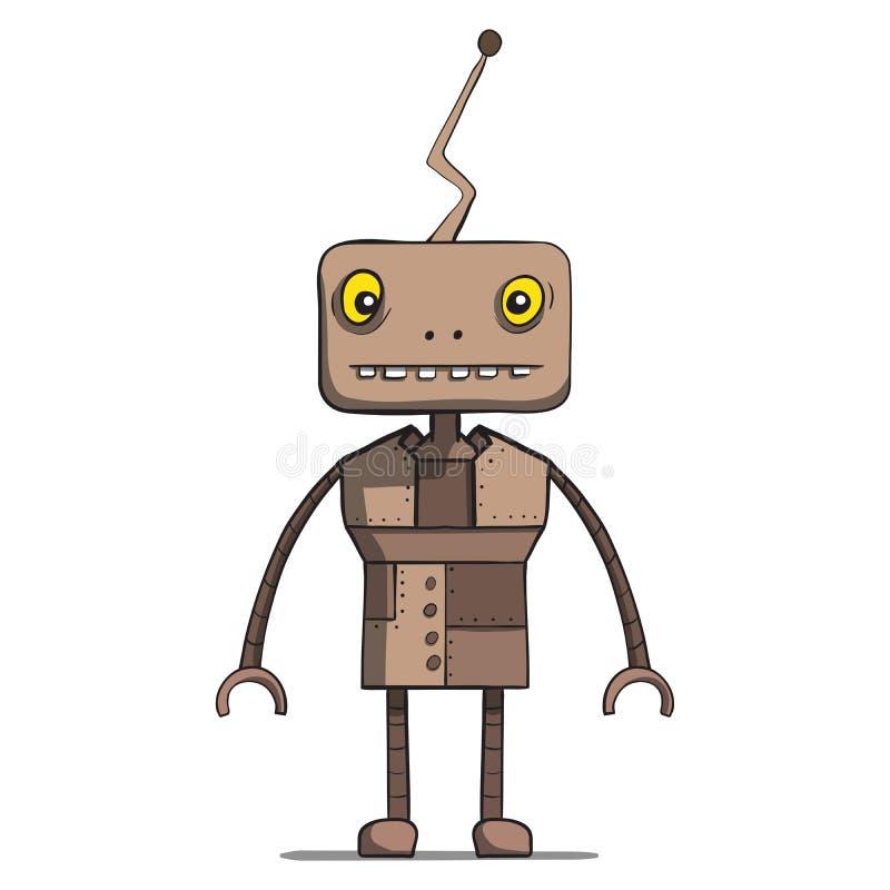 滑稽的动画片机器人。传染媒介例证 库存例证