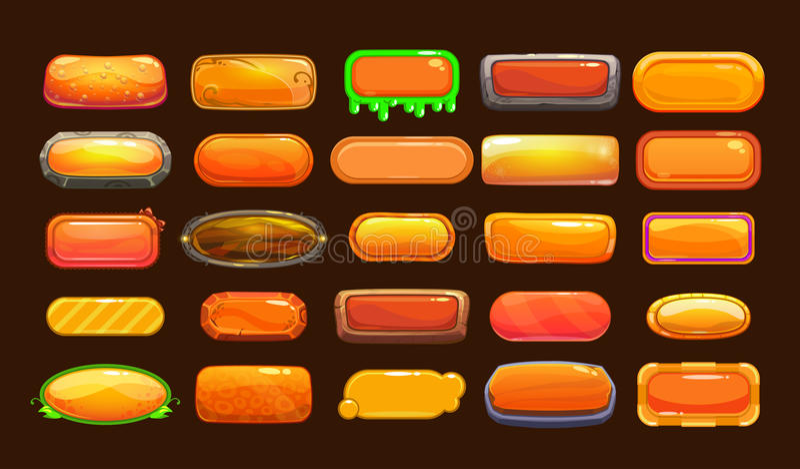 滑稽的动画片橙色长的水平的按钮 向量例证